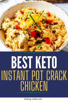 Keto Instant Pot Crack Chicken is my ultimate quick and easy dinner. Chicken is perfectly seasoned, coated in a creamy cheese sauce, and topped with crispy bacon. This easy casserole is so simple to make. It is perfect served with a green salad or over cauliflower rice. So creamy, rich, and satisfying. Gluten Free Recipes For Breakfast, Wheat Free Recipes, Healthy Gluten Free Recipes, Low Carb Recipes, Real Food Recipes, Dinner Recipes, Healthy Options, Pressure Cooker Recipes, Pressure Cooking