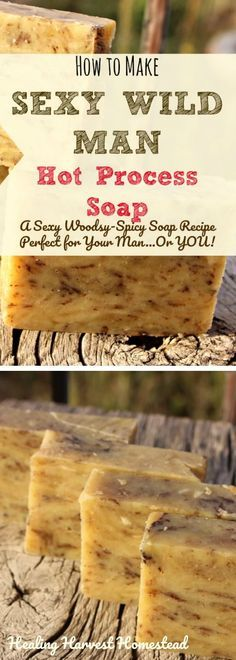 I've been making my Sexy Wild Man Hot Process soap recipe for a very long time because it's a favorite of so many people! The name is just cute, but this soap packs a serious aromatherapy punch! The Cedarwood calms and motivates, the cinnamon is warming and spicy, and the lemongrass uplifts your soul! Learn how to make my Sexy Wild Man hot process soap with step by step directions and a great recipe!!