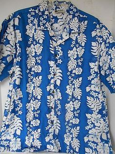 3726aab92846 Details about Vintage Men's XL Rai Nani Blue & White Floral Aloha Hawaiian  Shirt