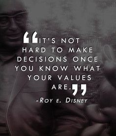 Decisions x Values __ⓠ Roy E. Disney #CharacterIsSpelledHow? #choices