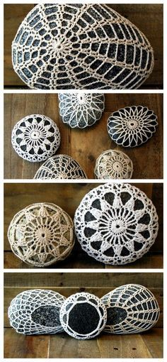 Wouldn't these look great on your wedding reception tables?! Beautiful hand-crocheted stones plucked from the ocean! Great for indoor decor or place one or more in your outdoor gardens. Crochet Stones, Crochet Covered Rocks - Wedding Reception Decor Favors - Paperweight, Shabby Chic, Ringbearer