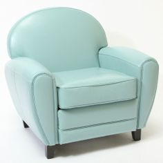 Leather Club Chair - in teal