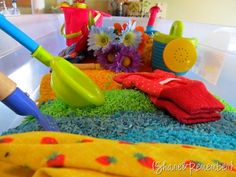 pretend gardening with rainbow rice