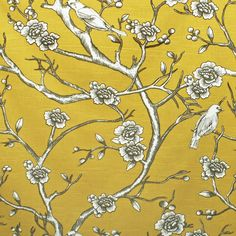 A large scalefloral fabric with birds and branches in a citron yellow with white and a brown outline with greige shading.Perfect for drapery, roman shades, a shower curtain, decorative pillows and seat cushions as well as some upholstery and other home decor items.Manufacturer:Dwell StudioContent:100%Cotton canvasWidth:56