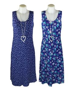 Cruise and holiday wear for summer evenings- Elizabeth Scott Blue Floral Reversible Dress