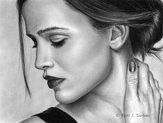 Jennifer Garner Drawing by KJS-1  | First pinned to Celebrity Art board here... http://www.pinterest.com/fairbanksgrafix/celebrity-art/ #Drawing #Art #CelebrityArt