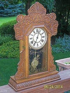 Antique E. Ingraham Pressed Gingerbread or Oak Kitchen Shelf Clock | #536990771