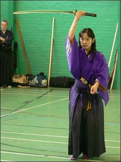 Midori Tanaka does a sword dance