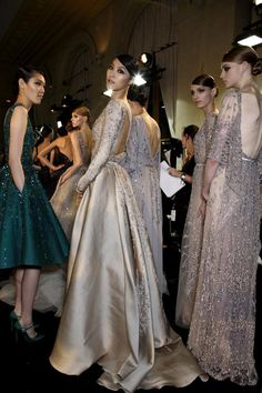 Backstage at Elie Saab Haute Couture Fall/Winter 2013.