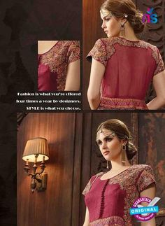 AZ 3316 Maroon and Multicolor Bhagalpuri Silk Fancy Designer Gawn