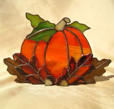 Pumpkin Stained Glass Candle Holder by hobbymakers on Etsy