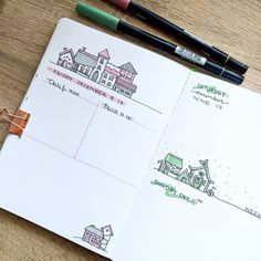 Holiday houses by @peccapeccapeccadraws    #bujo #bujonewbie #bujolove #beforethepen #bulletjournal#bulletjournalss #daily #dailyspread #holiday #doodles #holidayhouses