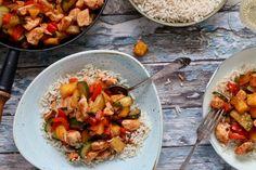 Zoetzure kip met rijst Love Food, A Food, Food And Drink, Wok, Healthy Life, Nom Nom, Curry, Dinner Recipes, Asian