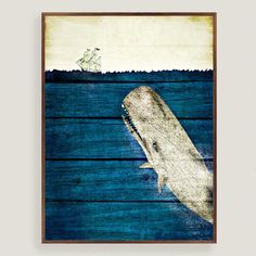 One of my favorite discoveries at WorldMarket.com: Rustic Framed Blue Whale Wall Art