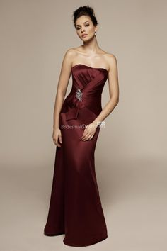 Cheap Strapless Fit and Flare Sweetheart Neck Wine Satin Floor Length  Bridesmaid Dress is on Sale! Buy Strapless Fit and Flare Sweetheart Neck  Wine Satin ... e9b26fb0cb45