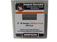 Simpson Swan Secure T18N200FNB 18-Gauge 316 Stainless Steel 2-Inch Brad Nails, 500 Per Box by Simpson. $25.40. From the Manufacturer                Simpson Swan Secure T18N200FNB 316 Stainless Steel 18-Gauge Brad Nails contain more Nickel than a comparable 304SS fastener. This increases the corrosion protection in the harshest environments. Simpson Swan Secure 316 stainless steel nails are manufactured with very high steel tensile strengths ranging from 125,000 to 145,000 pound...