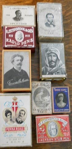 Pen nib boxes with famous faces. _ Judith Walker's Collection