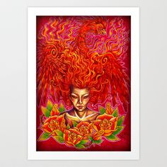 'Phoenix' Art Print by PretenseOfDreaming, now available at Society6 www.society6.com/pretenseofdreaming - $15.00