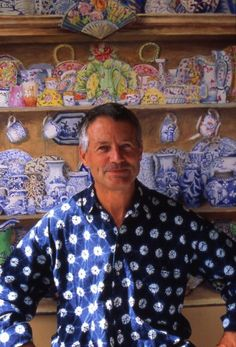 This is Kaffe Fassett who has designed needlepoint, quilts, and fabrics. He grew up in Big Sur. He lives in Europe but can be seen at speaking engagements throughout the USA