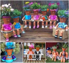 How to make DIY clay pot garden flower people #diy, #gardening, #garden