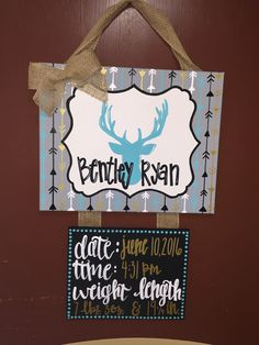 Hospital door hanger  Birth stats, canvas painting, deer, arrows. Turquoise,navy and gold.