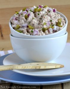 Tuna Spread. Ingredients:    1 can (6 oz) tuna in water - drained, 1/3 cup favorite yogurt,  1 1/2 tsp Dijon-style mustard (or more to taste),  1 1/2 tbsp pickles, finely chopped (sub capers),  1 1/2 red onion - finely chopped, salt and pepper to taste,