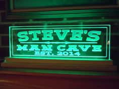 Man Cave Sign LED Lighted Acrylic Personalized First Name Mans Custom Made Housewarming Father's Day Groomsmen Gift Established Date LED634 by TKWoodcrafts on Etsy