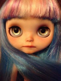 SOLD** OOAK custom Blythe doll. Blue