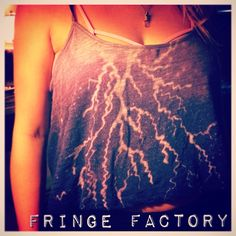 """Fringe Factory """"Lightening Storm"""" tank; hand-dyed with bleach"""
