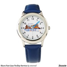 Shore Fast Line Trolley Service Watch; $49.95 - #stanrail - Style: Kid's Stainless Steel Blue Leather Strap Watch : Make time telling fun with the kid's custom stainless steel watch from eWatchFactory. Customized with their favorite characters, animals, designs, and name, this 100% stainless steel watch will be the only thing they'll never want to take off. @stanrails_store