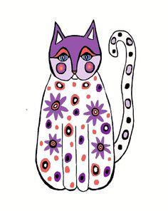 Several Colorways Folk Art Cat Print by MyDifferentStrokes on Etsy, $22.00
