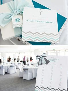 Chevron Striped Christening Celebration {Teal & Silver} // Hostess with the Mostess®