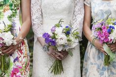 This photograph is so charming and I love that it shows the detail in Eleanor's French chantilly lace wedding gown. Her bouquet and bridesmaids' mix of prints is perfection! Gown by Janice Martin Couture / Photograph by Love Me Do Photography    Click on the image to check out the feature from Eleanor & Drew's wedding on Chic Vintage Brides!