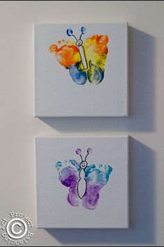 Cute kid craft idea - foot print butterflies :)