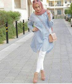 pastel shirt dress hijab