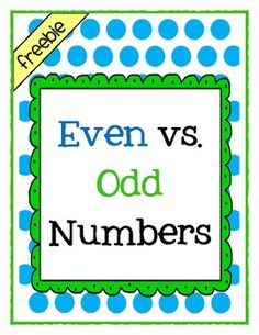 FREE - This 5 page mini packet is a 26 question even vs. odd number assessment.     Materials needed per student:    1 blue crayon  1 green crayon  1 pencil