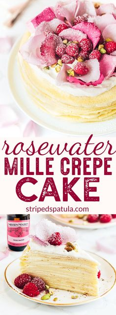 {sponsored} Mille Crepe Cake Recipe with Rose Water Cream | Rosewater Recipes | Nielsen Massey Vanilla | Nielsen Massey Rose Water | Crepe Recipe | Crepes | Dessert Recipes | #stripedspatula #crepe #dessertrecipes #NielsenMasseyPartner