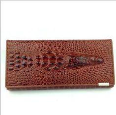 Women's Wallets split Leather Crocodile Cow Leather 3D Long Clip
