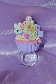 Pastel Kawaii Bunny Scented Cupcake Ring by SweetPoisonCupcake, $7.00