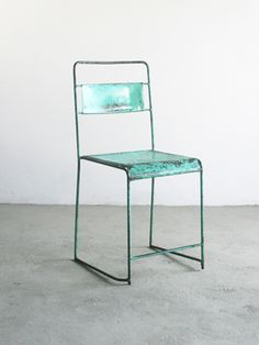 turquoise steel chair $79