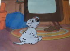 """Original hand painted production cel of Rolly the Dalmatian Puppy from """"101 Dalmatians,"""" 1961"""