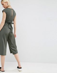 ASOS Jersey Jumpsuit with Waist Detail - Green