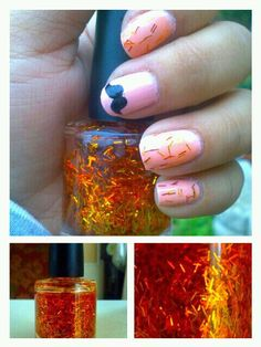 I made this tinseled nail polish polish today; doesn't it look like the bottle is in flames??