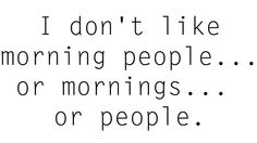 I don't like morning people.... or mornings.... or people.