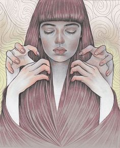 'Trance', 2013. Graphite on paper (digital colour), 20 x 30 cm by Martine Johanna in ‪#‎beautifulbizarre‬ Issue 008   Get your copy of #beautifulbizarre today ~  In print via our Stockists: https://beautifulbizarre.net/shop/stockists/    In print or digital from our Online Shop: https://beautifulbizarre.net/shop/