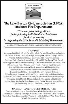 The Lake Burton Civic Association (LBCA) and area Fire Departments    Wish to express thei... | Lake Burton Civic Association - Clayton, GA #georgia #ClaytonGA #shoplocal #localGA