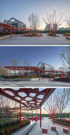 This modern public plaza has a variety of seating options, like a built-in concrete bench that sits underneath a red pergola and that wraps around the planters. Urban Furniture, Street Furniture, Plaza Design, Pocket Park, Concrete Bench, Public Seating, Urban Park, Grenade, Landscape Architecture Design