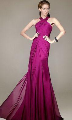 Merlot A-line Pleated Cross Straps Floor Length Bridesmaid Dress