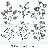 Flowers and Leaves Sketchy Doodle V