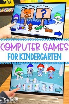 Monthly-themed kindergarten computer games that are perfect for centers or as a whole group activity on your interactive whiteboard. Students practice various math and language arts skills. Exit tickets for each activity are also included! #kindergartencomputergames #computercenters #technologyinkindergarten